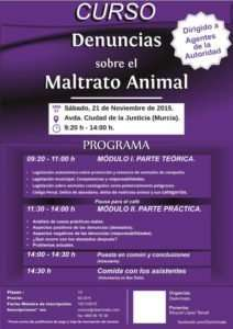 Cartel del Curso sobre Denuncias de Maltrato Animal a Agentes de la Autoridad