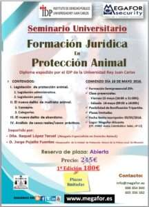 Cartel Seminario Universitario de Protección Animal