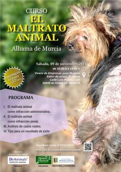 """Cartel Curso """"El Maltrato Animal"""", Alhama de Murcia"""