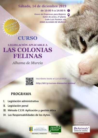 """Cartel Curso """"Legislación Aplicable a las Colonias Felinas"""", Alhama de Murcia"""