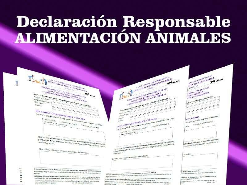 Declaración Responsable alimentar a animales en otras ubicaciones durante el estado de alarma